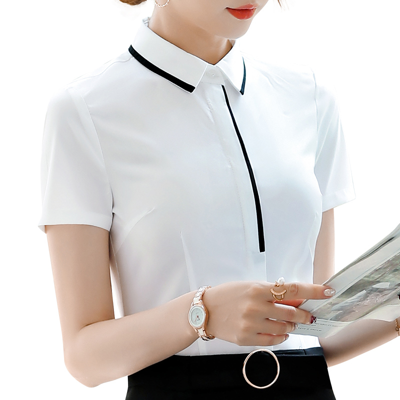 Blouse women shirt femme Work Top elegant white blue office lady Female Clothing short sleeve slim casual plus size summer 2019(China)