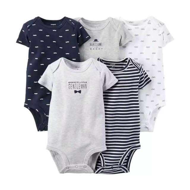 Verano 5 unids/lote niños Bebés ropa de Manga Corta de Impresión Mamelucos del bebé ropa de Algodón Ropa de Bebé Recién Nacido bebe Bebé Monos