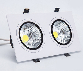 Free shipping (8pcs/lot)14W Dimmable Square Double COB LED recessed downlight 2x7W Down light  AC110V/AC220V/AC230V