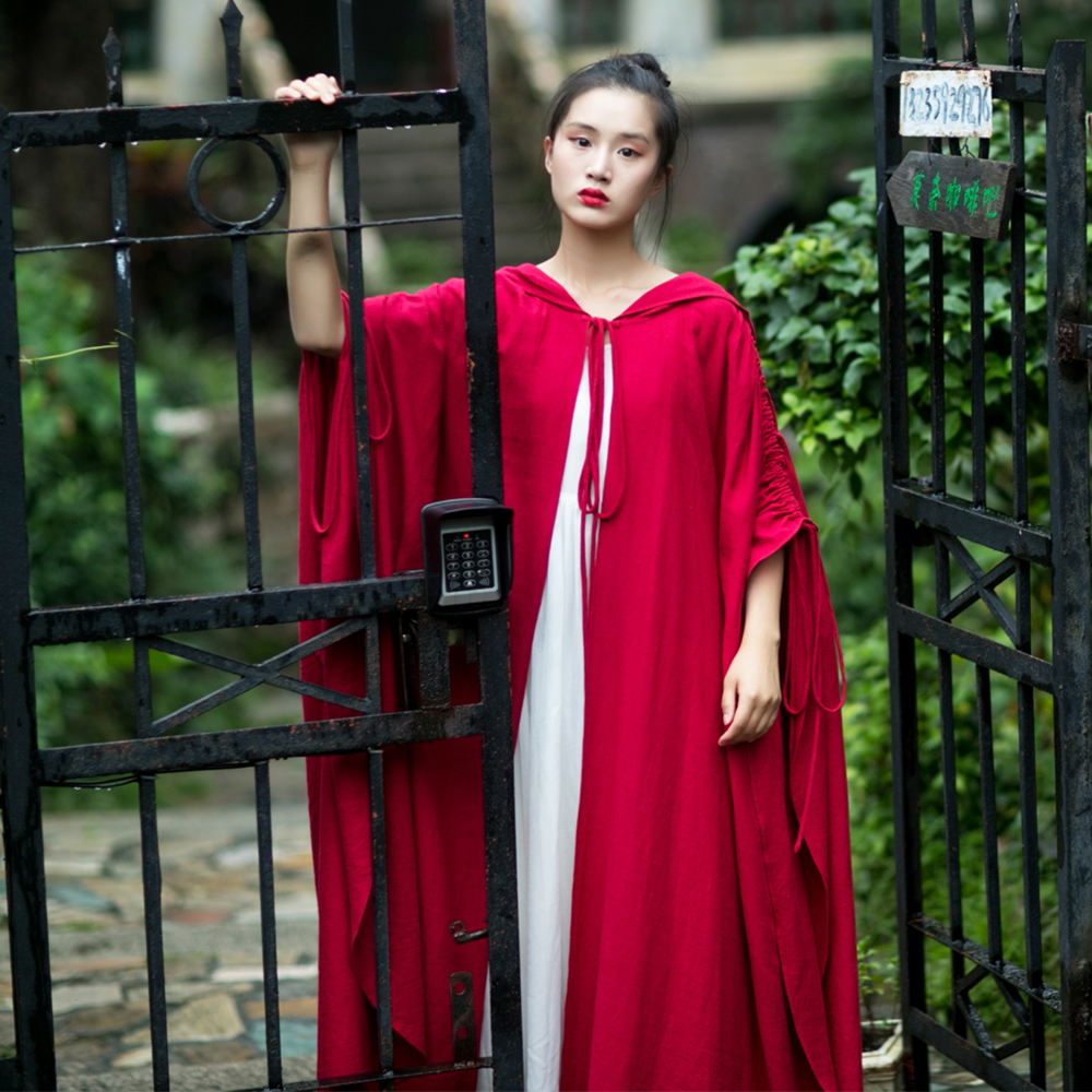 MM206 New Arrival Autumn 2017 vintage hooded oversize trench coat long maxi women linen cloak coat red