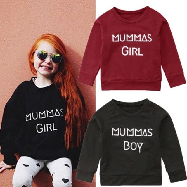 2019 אופנה תינוק בני בנות סווטשירט מכתב מגשר דפוס צמר למעלה סוודר כותנה מעיל 6 m-5 t