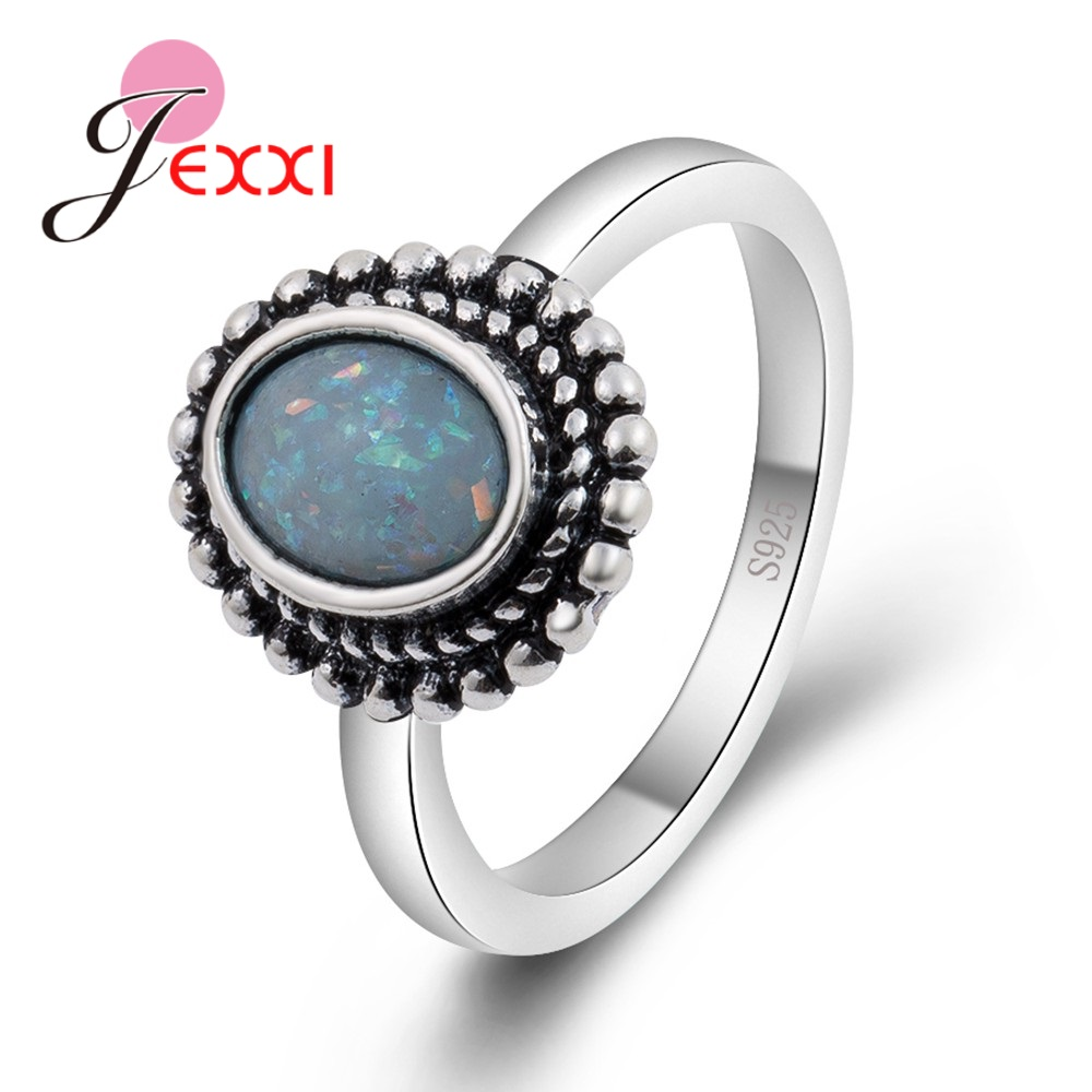 JEXXI Mystical Rainbow Opal Stones Real 925 Sterling Silver Party Engagement Rings For Women Female Original Old Fashion Anillos