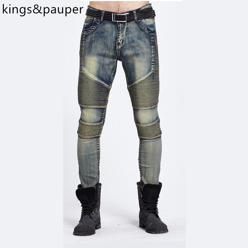 ФОТО Hot Sale 2017 hip-hop Men Pleated Jeans Biker Jeans New Designer Fashion Denim Overalls Brand Clothing Slim Fit Casual Pants