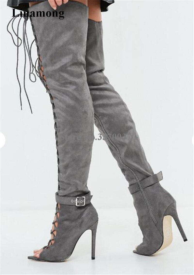 Женские пикантные модные замшевые сапоги гладиаторы выше колена на тонком каблуке, с открытым носком, на шнуровке, с вырезами, серые высокие
