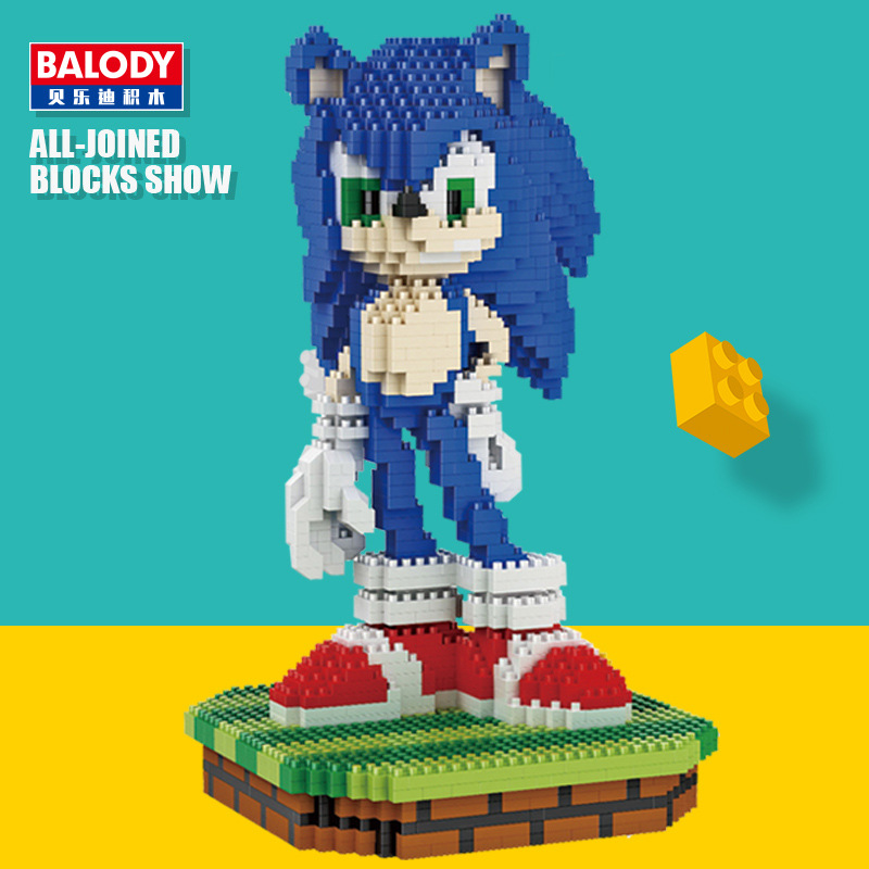 Balody Sonic Figure Mini Nano bricks Diamond Building Blocks Kid Toys 1800pcs