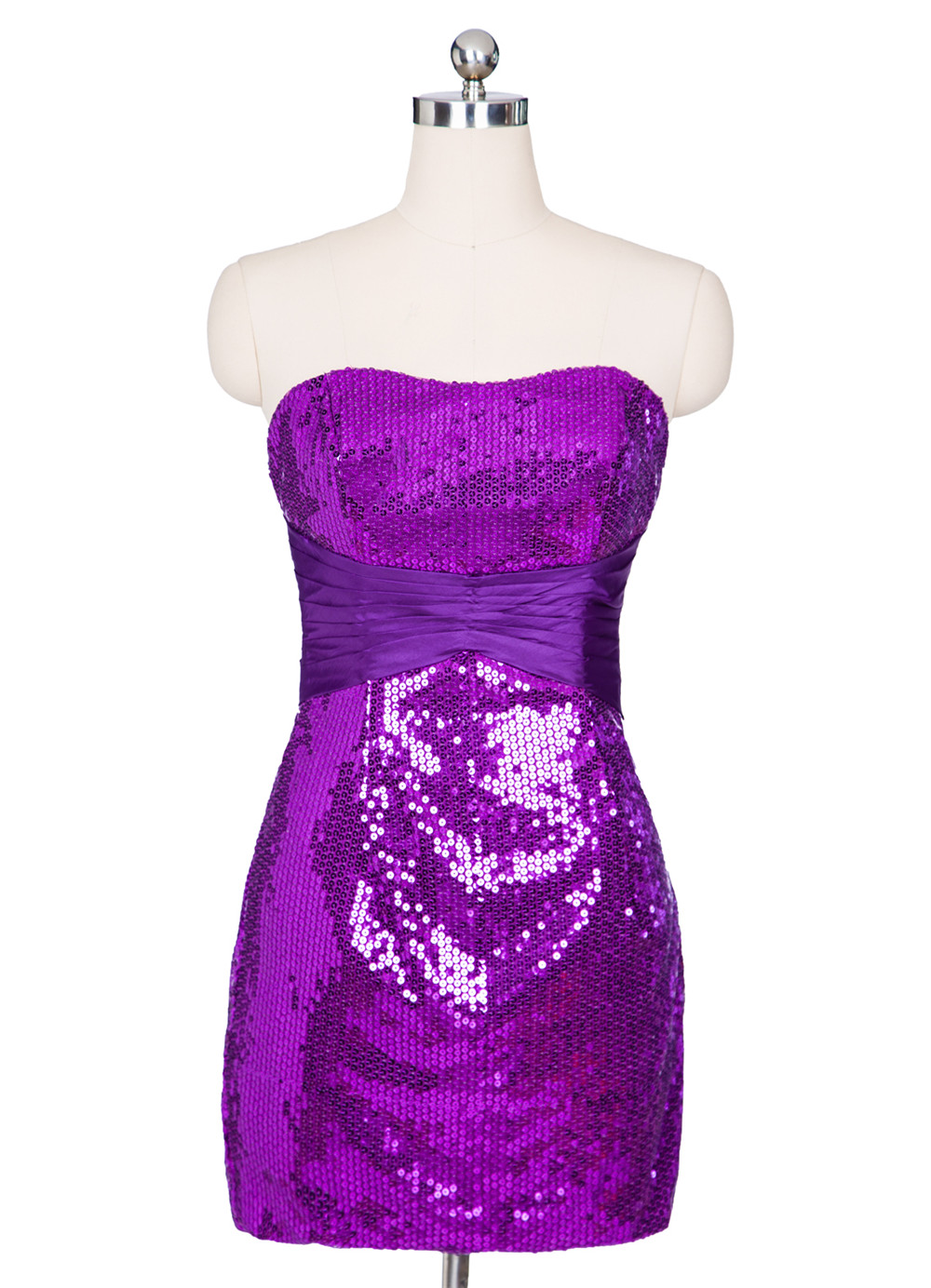 100% Cuadro Verdadero Corto Formal Vestidos de Coctel Púrpura Con ...