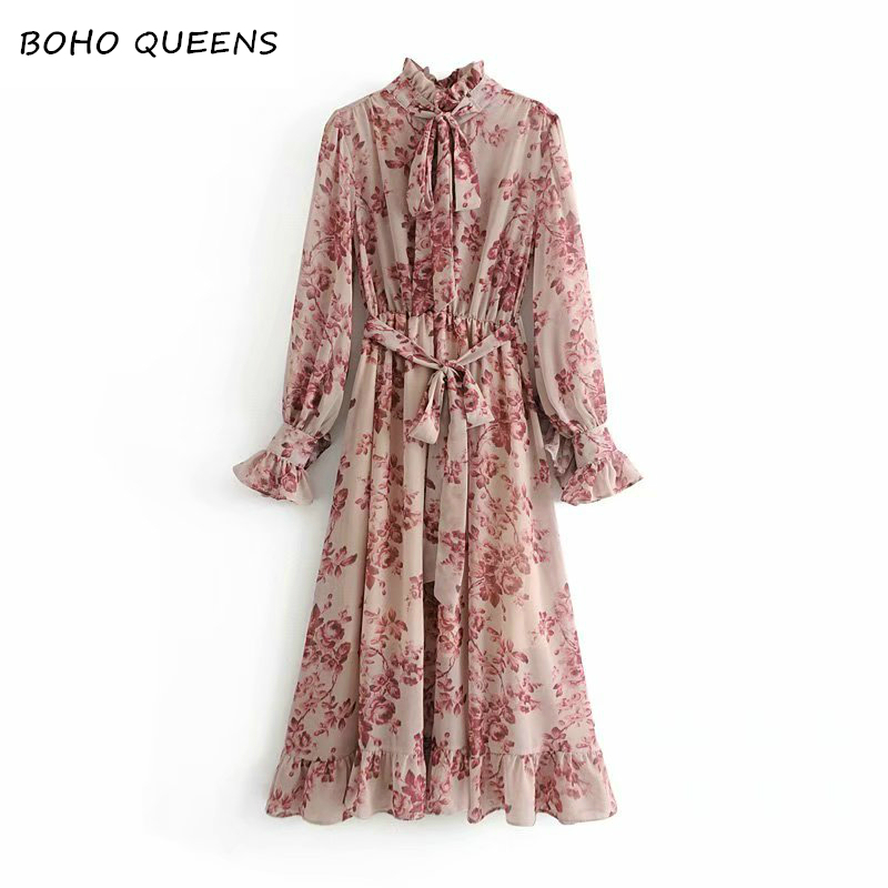 Vintage Floral Print Sashes Ruffled Pleated Dress chiffon dresses Ladies long sleeve ruffled lace up Midi
