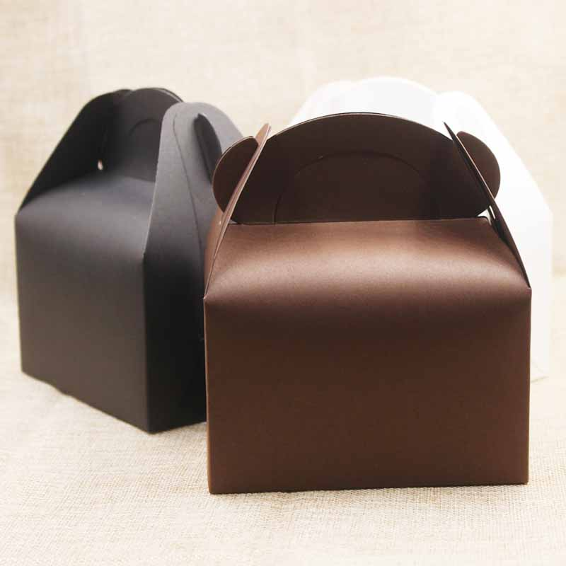 5pc/lotWhite/brown Cardboard Box With Handle Wedding Party Dessert/cake/food Paper Packaging Box Black Festival Gifts Box