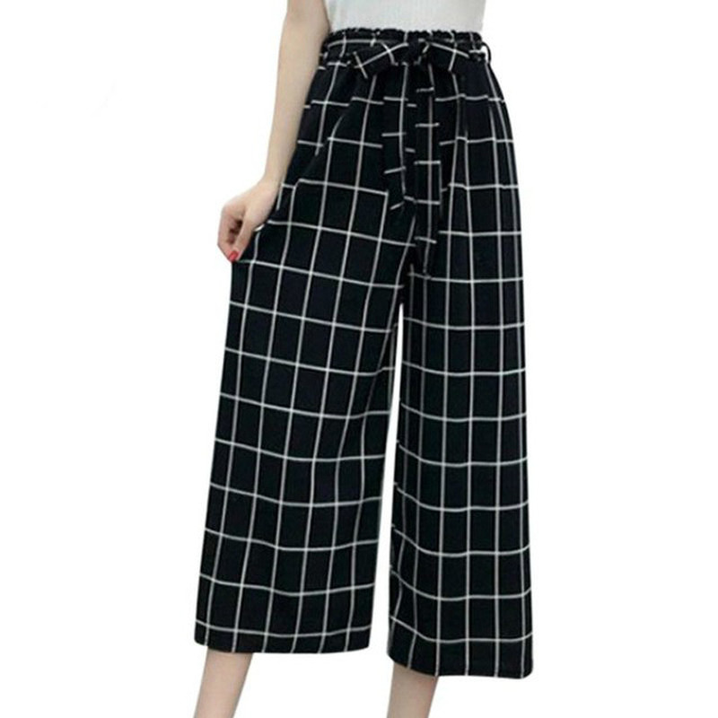 2019 Summer New Striped Style Black Loose High Waist Crop Casual Pants Women One Size Chiffon Wide-leg Pants Plus Size
