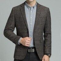 Casual Business Dress Blazer Male Elgland Style Men Wool Blazer Jacket with Elbow Patch Plaid Tweed Suit Jackets Slim Fit M 4XL