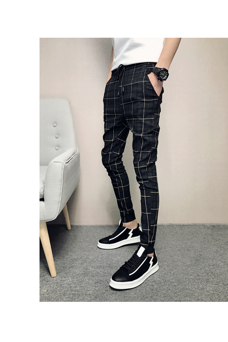 New Pants Men Slim Fit British Plaid Mens Pants Fashion High Quality 2020 Summer Casual Young Man Hip Hop Trousers Male Hot Sale 17