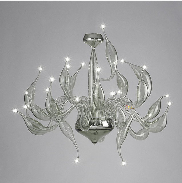 Italy Swan Chandelier Modern Murano Chandeliers Creative Art Glass Light 24 Head Grey Color