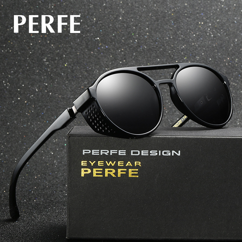 3d6db66d57d Detail Feedback Questions about PERFE Fashion Brand Designer Vintage  Personality HD Round Sun Glasses Hollow Steampunk Polarized Sunglasses For  Men UV400 ...