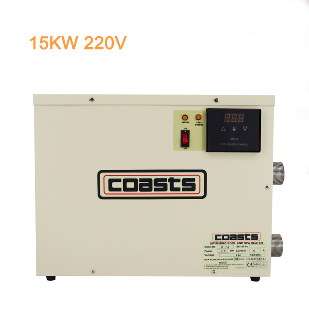 High Quality Update 15KW 220V Thermostat Swimming Pool SPA Home Bath Hot Tub Electric Water Heater