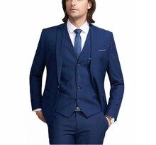 Mens Formal Wedding 3 Piece Suit Business Slim Fit Notch Lapel Groom Tuxedos Men Suit One Button Prom Casual Blue Blazer boys blue wedding suit slim fit suit boys prom suit blue page boy suit 3 piece