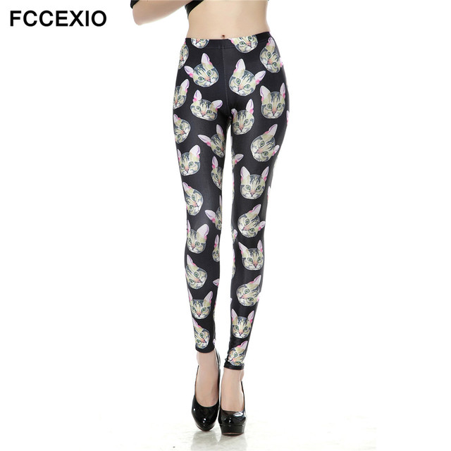 Fccexio High Elasticity Egyptian Cat Symbols Printed Fashion Slim