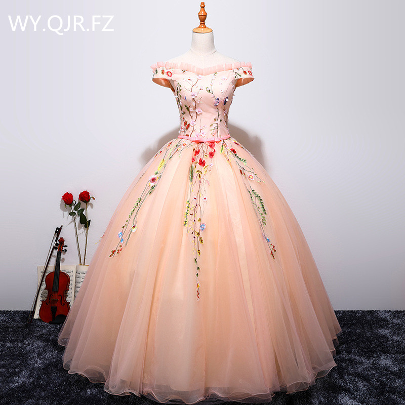 SBFS01#Pink Appliques long lace up wedding party dress 2018 Bridesmaid Dresses prom Ball Gown wholesale Cheap clothing china