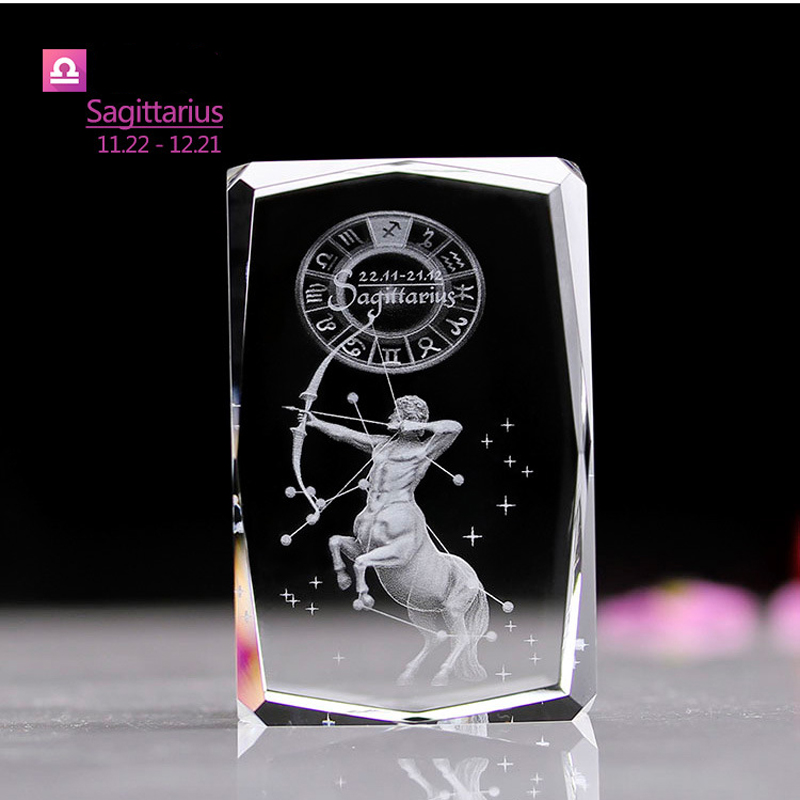 Sagittarius Zodiac Laser inside crystal 3D Night light Color Changing Led Table Lamps Novelty gifts for Baby