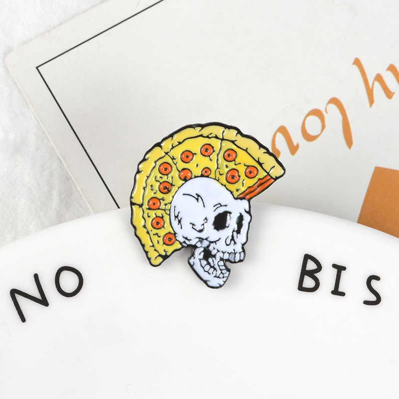 Divertimento creativo Pizza Taglio di Capelli Del Cranio Dello Smalto Spilli Scheletro Distintivi e Simboli Spilla Personalizzata Pastello Risvolto Spille Camicia di Jeans Punk Dei Monili Delle Donne