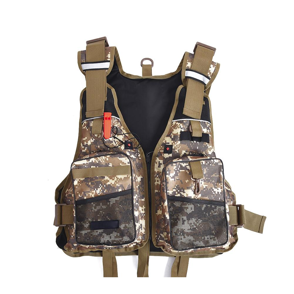 Outdoor Sport Fish Digital Camouflage Floating Vest Safety Life Jacket Fly Fishing Clothing Fishing Vest Fish Supplies 2 Colors mens winter sea fishing clothes one piece suit floating life saving fishing clothing ykk zipper lifesaving whistle fly fishing