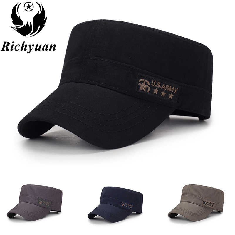 3599ae2fa60881 Classic Vintage Flat Top Mens Caps And Hat Adjustable Fitted Cap Warm  Casual Star Military Hats