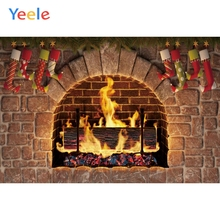 Yeele Fireplace Christmas Stock Brick Warm Vitality Photography Backdrops Personalized Photographic Backgrounds For Photo Studio