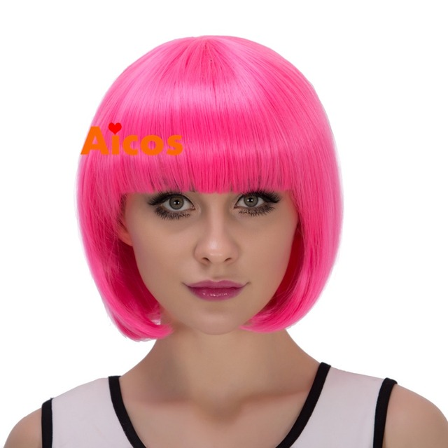 Factory price short synthetic hair  Hot Pink full  wig for women cosplay party hair bob wigs