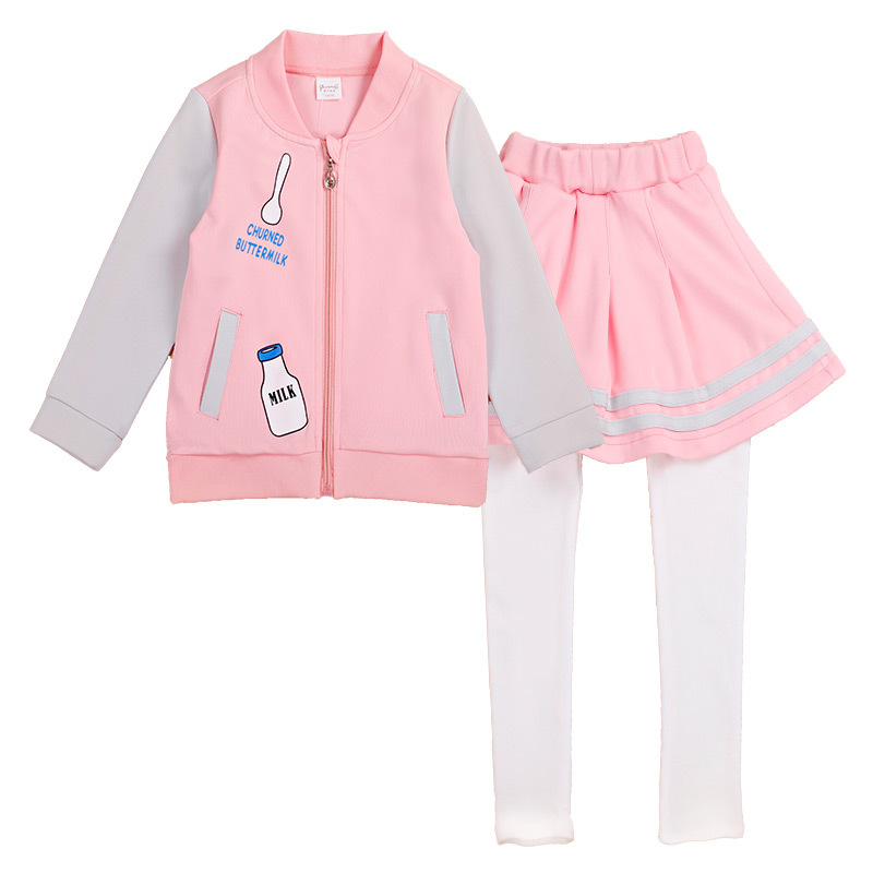Children Clothing Sets New Girls Sports Suit Spring Long Sleeve Coat+ Skrit Pants Kids Girl Clothes Suits 2pcs/Set YL479 free shipping children clothing spring girl three dimensional embroidery 100% cotton suit long sleeve t shirt pants