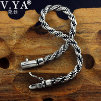 V.YA Pure Silver 925 Bracelets for Men Women 5mm Twisted Chain Bracelet & Bangles Wristband Vintage Punk Rock Thai Silver Jewelr