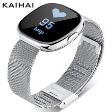 KAIHAI браслет артериального Давление монитор сердечного ритма фитнес-часы для женщин умный Браслет femme Будильник Напоминание серебро H2