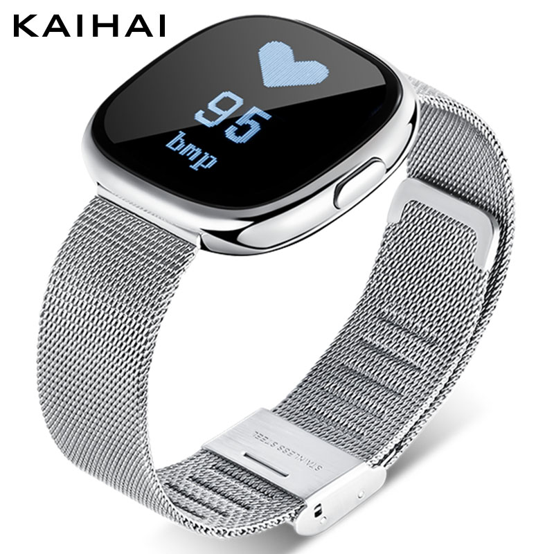 KAIHAI wristband Blood Pressure Heart Rate Monitor fitness watches for women smart bracelet femme Alarm Clock Reminder silver H2 bluetooth smart wrist watch blood pressure watches bracelet heart rate monitor smart fitness tracker wristband for android ios