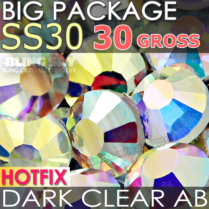 Big Package 30Gross SS30 Dark Clear AB HotFix Rhinestones Big DMC FlatBack Crystal strass DIY garment