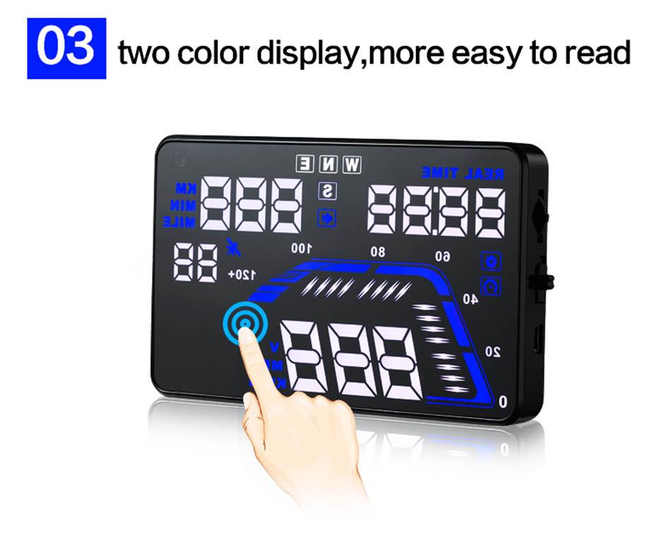 Universal Q7 5.5 Auto Car HUD GPS Head Up Display OBD II 2 Overspeed Warning Alarm Dashboard Windshield Project Speedometers-7