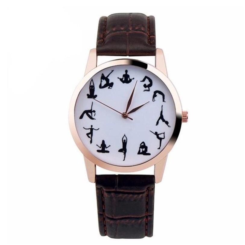 Превосходный новый йога девушка печатный узор 3 цвета искусственная кожа группа кварцевые Vogue наручные часы relogio feminino подарок 25 октября *