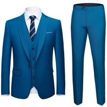 Hombres traje 3 unidades (chaquetas + Pantalones + chaleco) traje Social  hombres moda negocio 11c023a525a