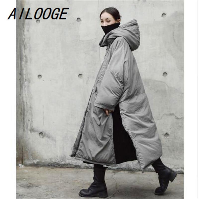 Veste Solide Manteau Gris Hiver Ailooge Nouveau À Mode 2018 Clair Femmes Grande De Automne Marée Épaississement Taille Capuche Chaud 1 Couleur Vent qw4YST