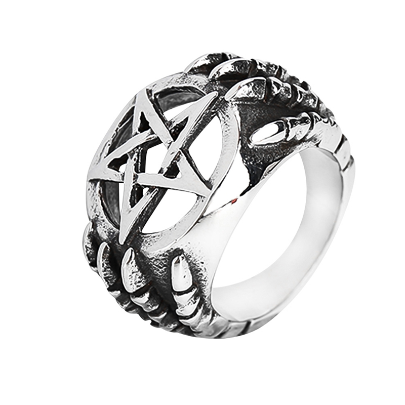 Vintage Hollow Pentagram Star Ring High Quality Titanium Steel Dragon Claw Men Ring Retro Punk Rock Biker Jewellry ...
