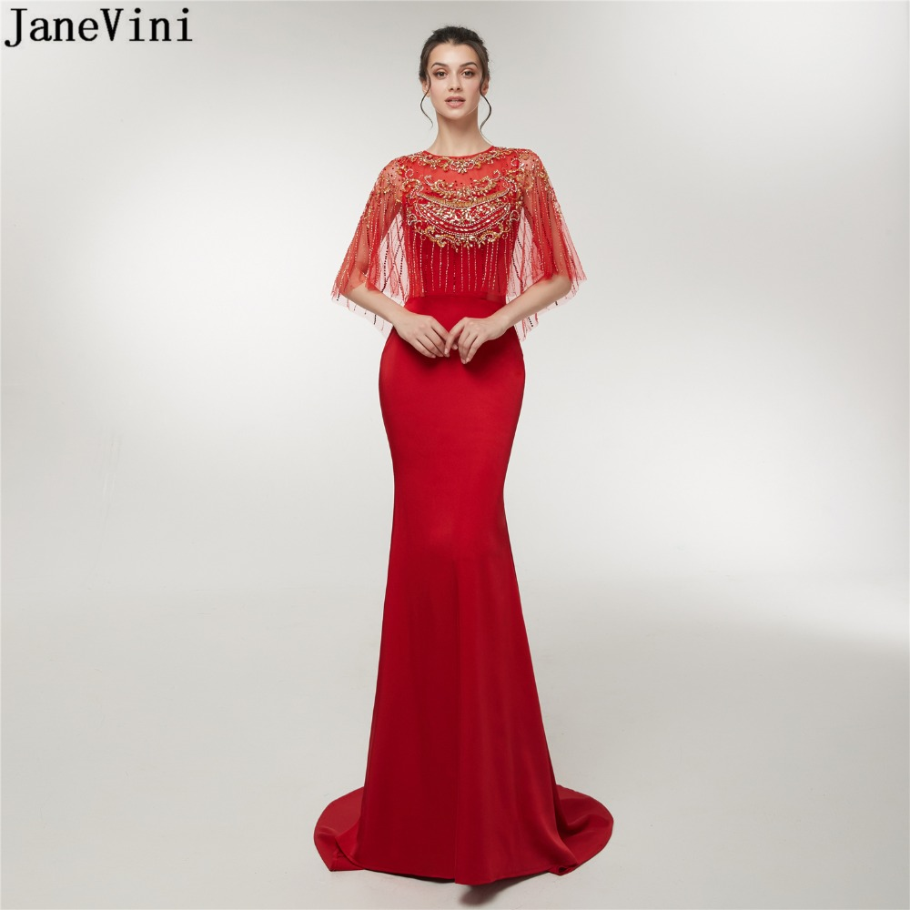 JaneVini 2019 Elegant Red Mermaid Long   Bridesmaid     Dresses   Luxury Tassel Beading Zipper Back Satin Sweep Train Formal Prom Gowns