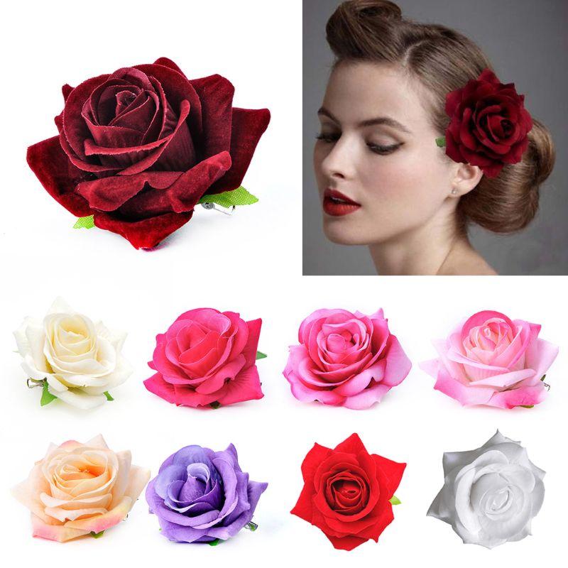 Women Velvet Cloth Rose Hair Clip Simulation Artificial Flower Corsage Brooch Pin Wedding Party Flamenco Dancer Hair Accessories