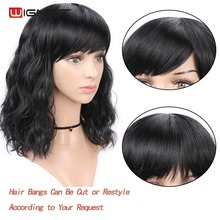 Wignee None Lace Synthetic Wigs With Bangs For Women Short Natural Wave Hair High Temperature Heat Resistant Cosplay