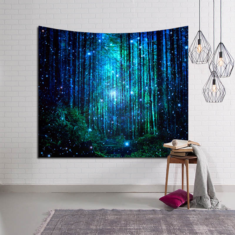 Psychedelic Forest Tapestry Wall Hanging Nature Picture