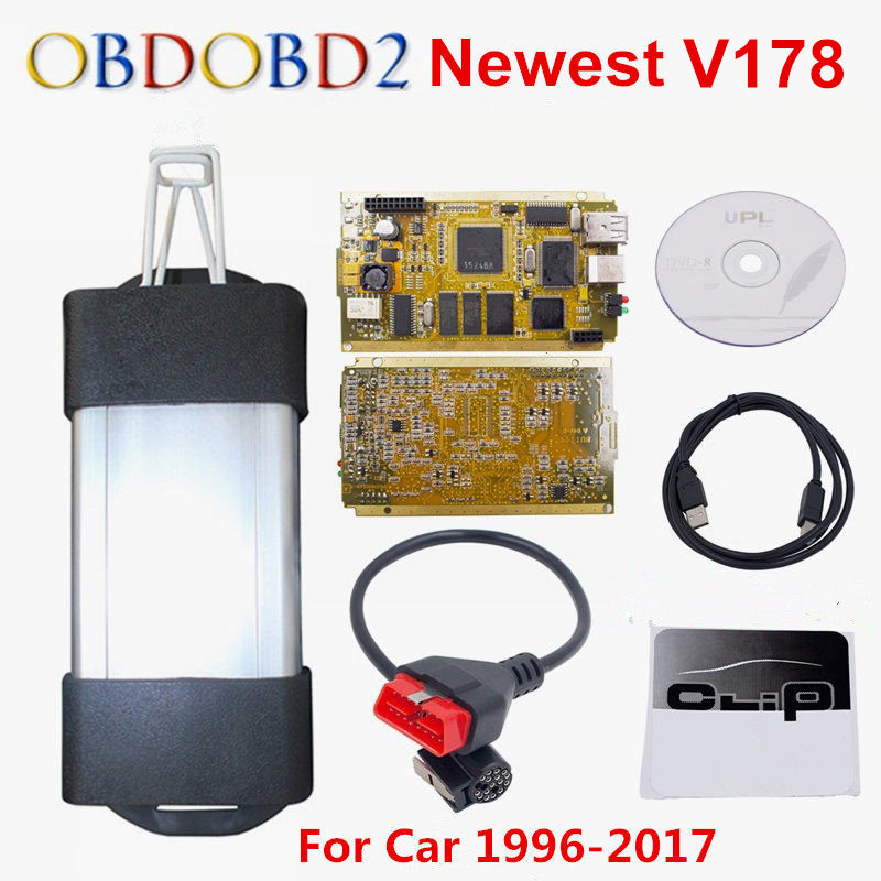 Latest V178 Can Clip Full Chip CYPRESS AN2131QC OBDII Auto Diagnostic Interface CAN Clip OBDII OBD2 Diagnostic Tool Code Scanner multi language v159 latest version renault can clip professional auto obdii diagnostic tool with high quality cnp shipping