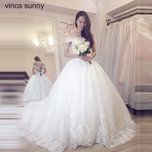 Vinca Sunny Lace Ball Gown Wedding Dress 2017 Off Shoulder Princess Arabic  Arab Bride Bridal Dress Gown Weddingdress  Cathedral