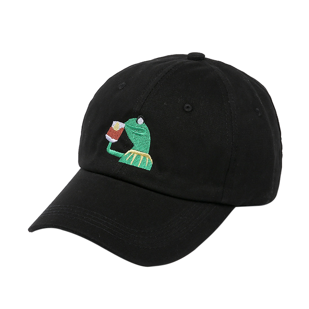 Kermit Tea Hat The Frog Sipping Drinking Tea Baseball Dad Visor Cap Emoji New Popular 6 Panel caps hats for men and women