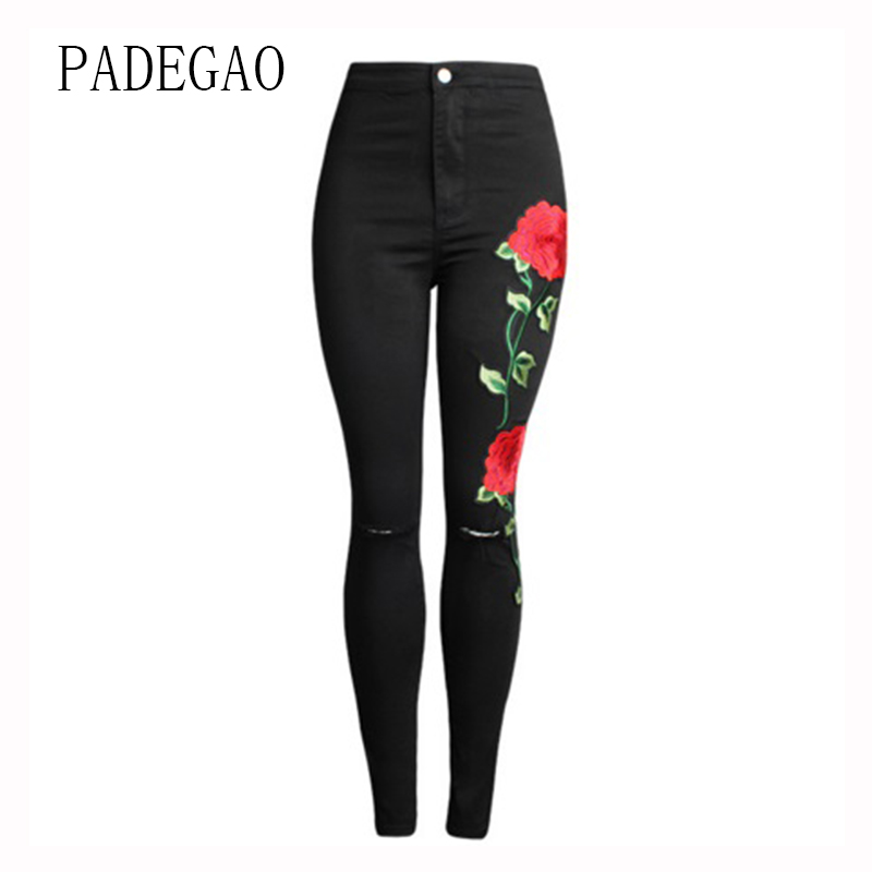 Large Plus Size Jeans For Women Embroidery Flower Black Mujer Female Push Up Womens Boyfriends Denim Femme Feminino Woman Pants