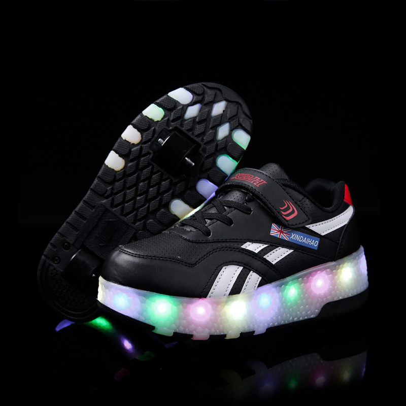 Roller Skate Sneakers >> Heelys LED light sneakers with Double Two wheel boys Girls roller skate casual shoe with roller ...