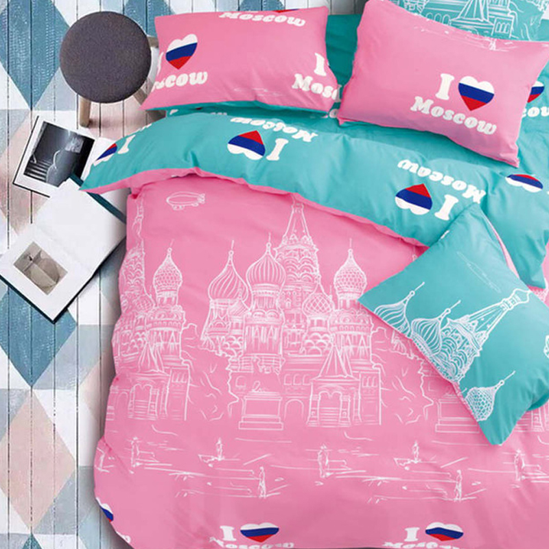 BELLIHOME Home Textile Bedding Linens Set 4/6PC High Quality Comfortable Famous Building Printing Duvet Cover Bed Sheet Set