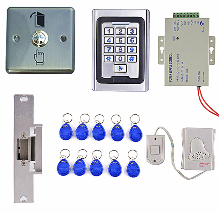 Electric Strike Door Lock +125KHZ Waterproof RFID Reader Access Control Full Kit Set + Power Supply Brand New K5 remote control rfid reader access control system full kit set electric strike door lock power supply k2000