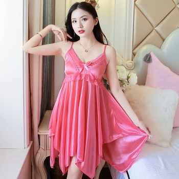 2019 Summer Sexy Lingerie Nightgowns for Women Silk Satin Lace Spaghetti Strap Night Dress Sleepwear Nightdress Nightwear Nighty 2019 summer women nightgowns sleepshirts nightshirts silk sleepwear satin sexy spaghetti strap nightdress nightwear