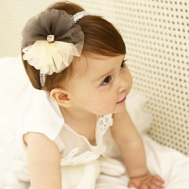 1pc high-end chiffon Big Flowers Kids HeadWrap two-color Floral Diamond  Headbands headwear girls Toddlers Hair Accessories D62 3c124814df6